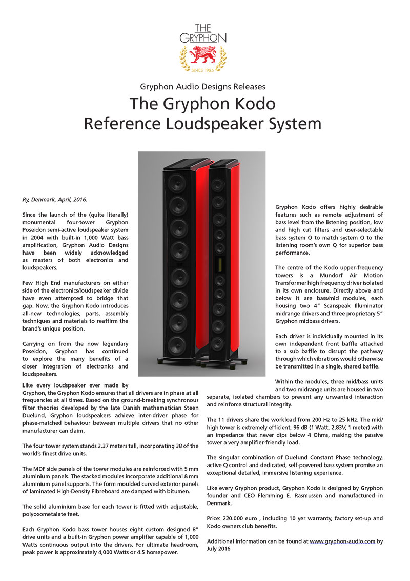 Gryphon Kodo press