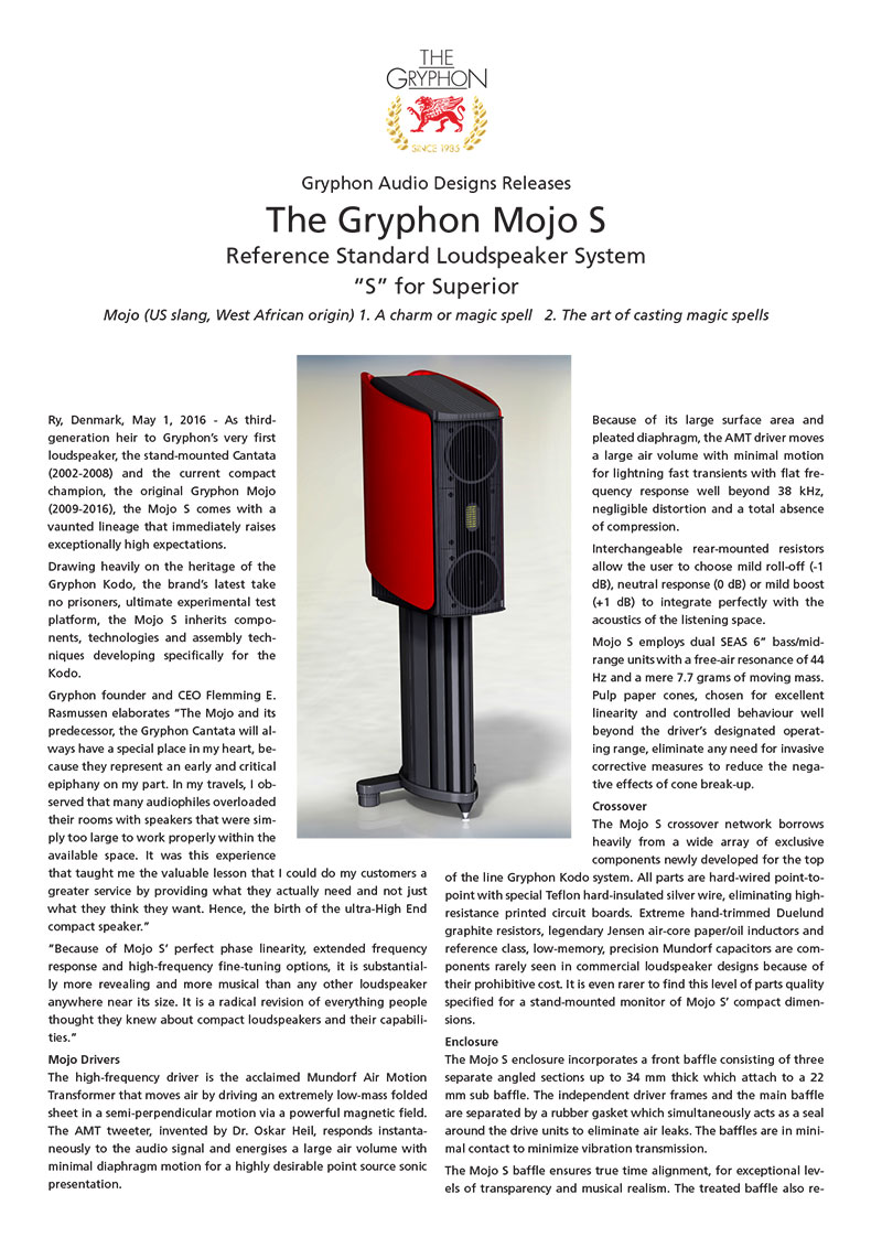 Gryphon Mojo S press